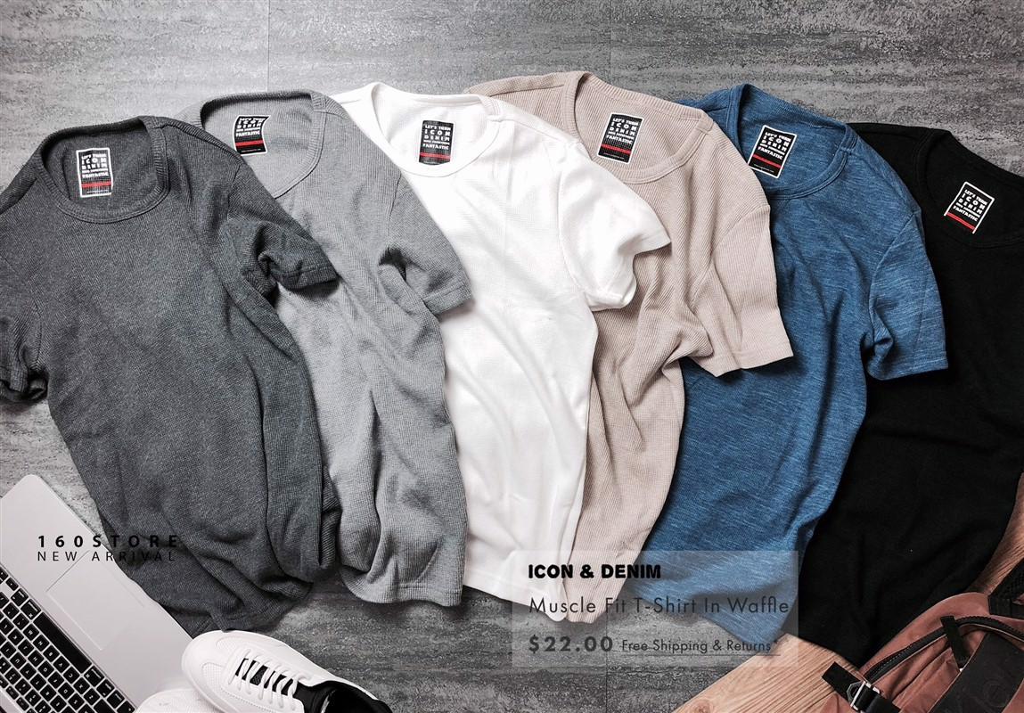 Icon & Denim T-Shirts In Waffle