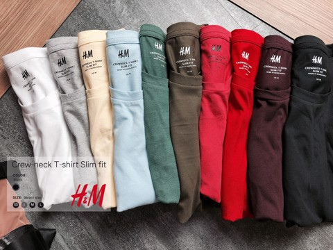 HM Crewneck T-Shirt Slim Fit