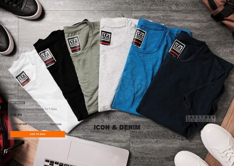 Icon & Denim Short Sleeve Muscle Fit T-Shirts