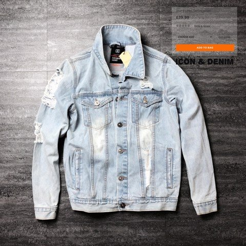 Icon & Denim Jacket with Rips