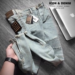 Icon & Denim Biker Skinny Jeans With Zip