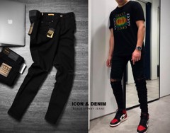 Icon & Denim Black Ripped Skinny Jeans