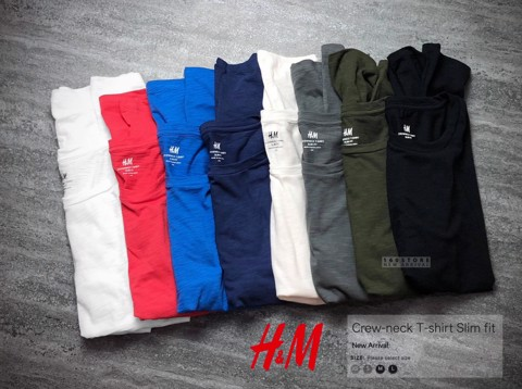 H.M Crew Neck T-Shirts Slim Fit
