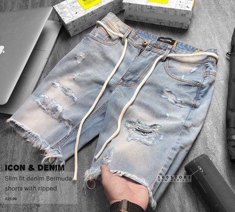 ICON & DENIM Bermuda Shorts with ripped