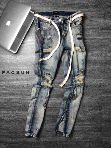 PAC.SUN Dirty Skinny Ripped Jeans with zip