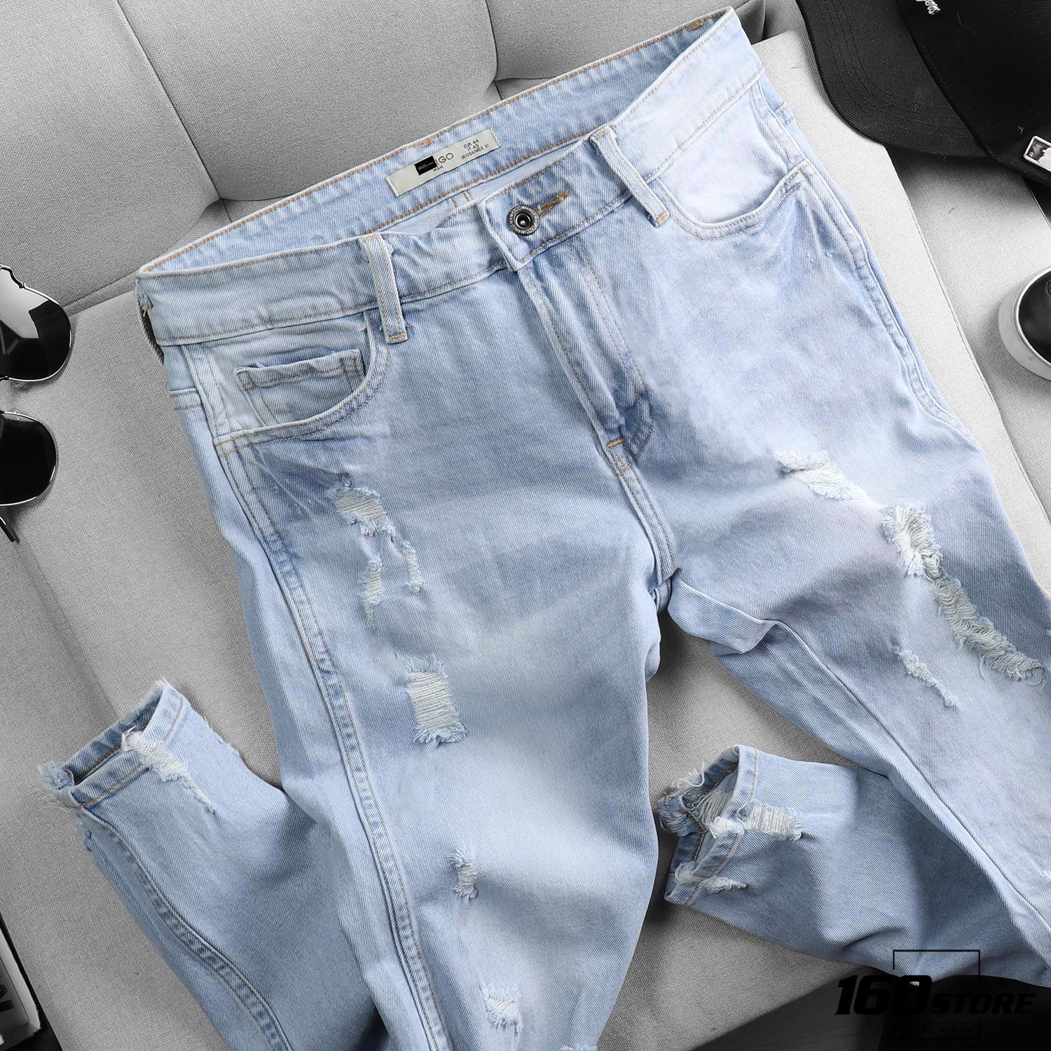 Quần jean M.N.G light blue ripped