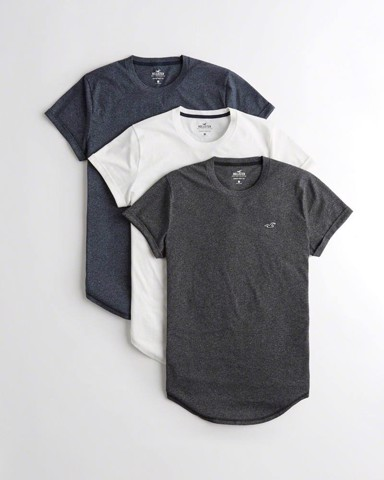 H0LLISTER Must-have Curved Hem T-shirt 3 Pack