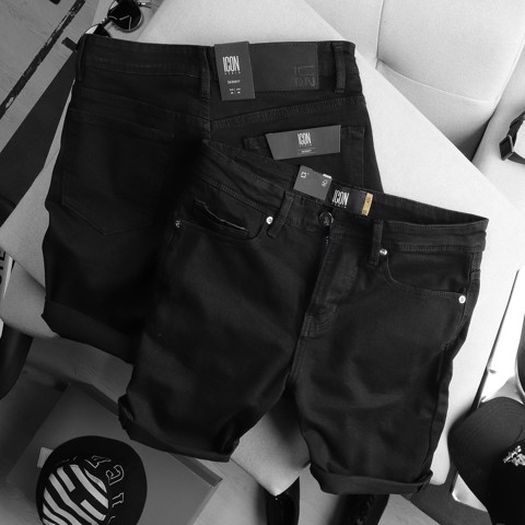 Quần short jean ICON DENIM black v2