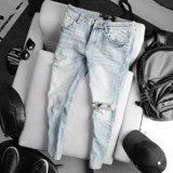 Quần jean ICON DENIM wash ripped slim