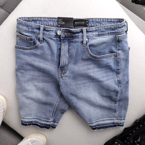 Quần short jeans BOUTON mix blue