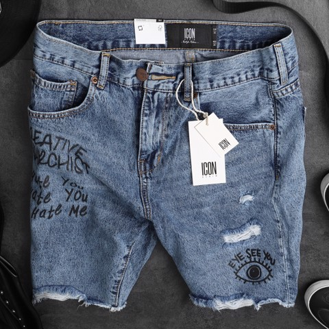 Quần short jean ICON DENIM printed