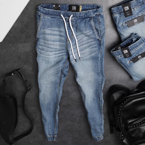 Quần jogger jean ICON DENIM blue washed