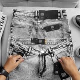 Quần Jean Icon Denim Grey Ripped Skinny