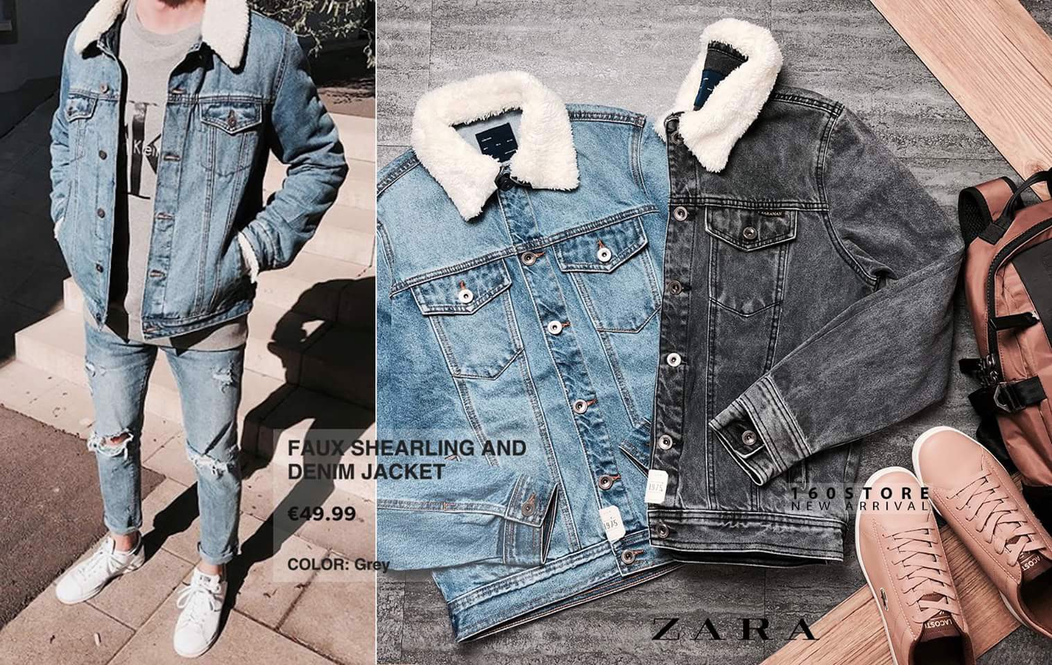 ZRA Faux Shearling and Denim Jacket