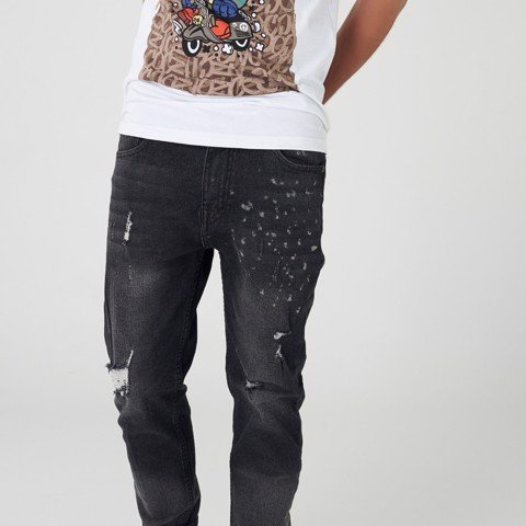 Quần jean ICON DENIM Skinny Grey Wash Paint