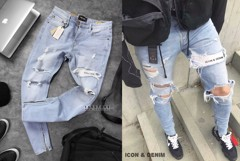 ICON & DENIM Ripped With Zip Skinny Fit Jeans