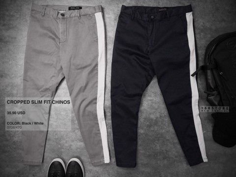 ZRA Cropped Slim Fit Chinos