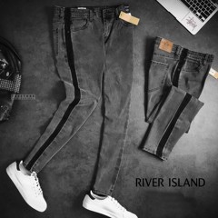 R.lSLAND Stripe Side Jeans