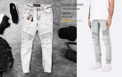 Icon & Denim Stretch Biker Jeans with Zip