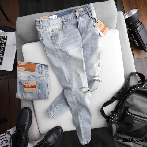 Quần jeans P.B light blue skinny rách