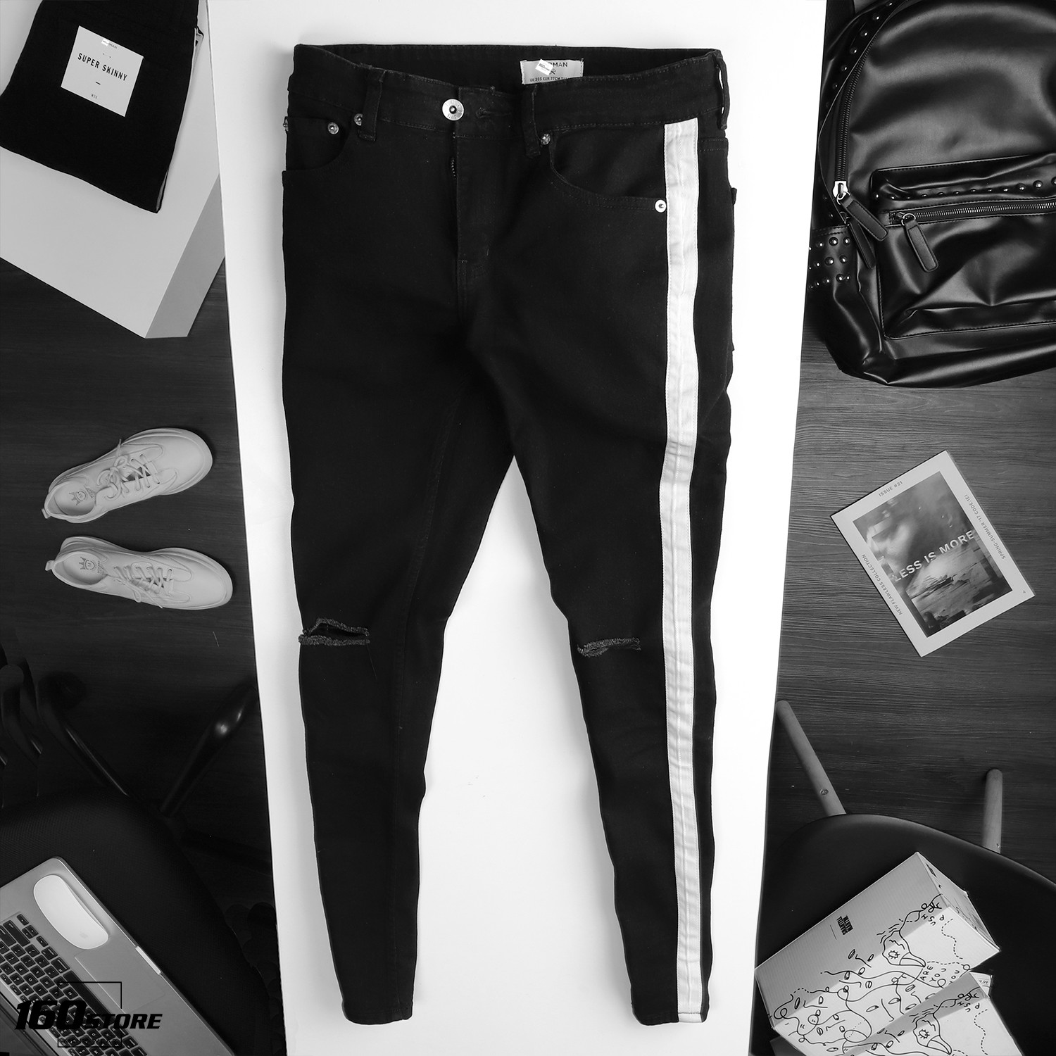 Quần jeans T.MAN super skinny with side tape in black