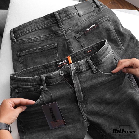 Quần short jeans NOMOUS ESSENTIALS dark grey rách