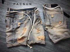 PACSUN Denim Ripped Shorts