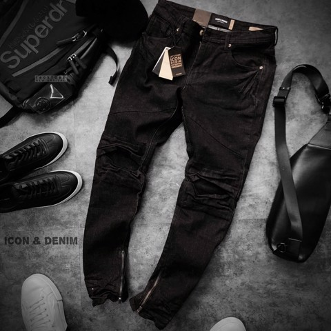 Icon & Denim Biker Jeans with Zip