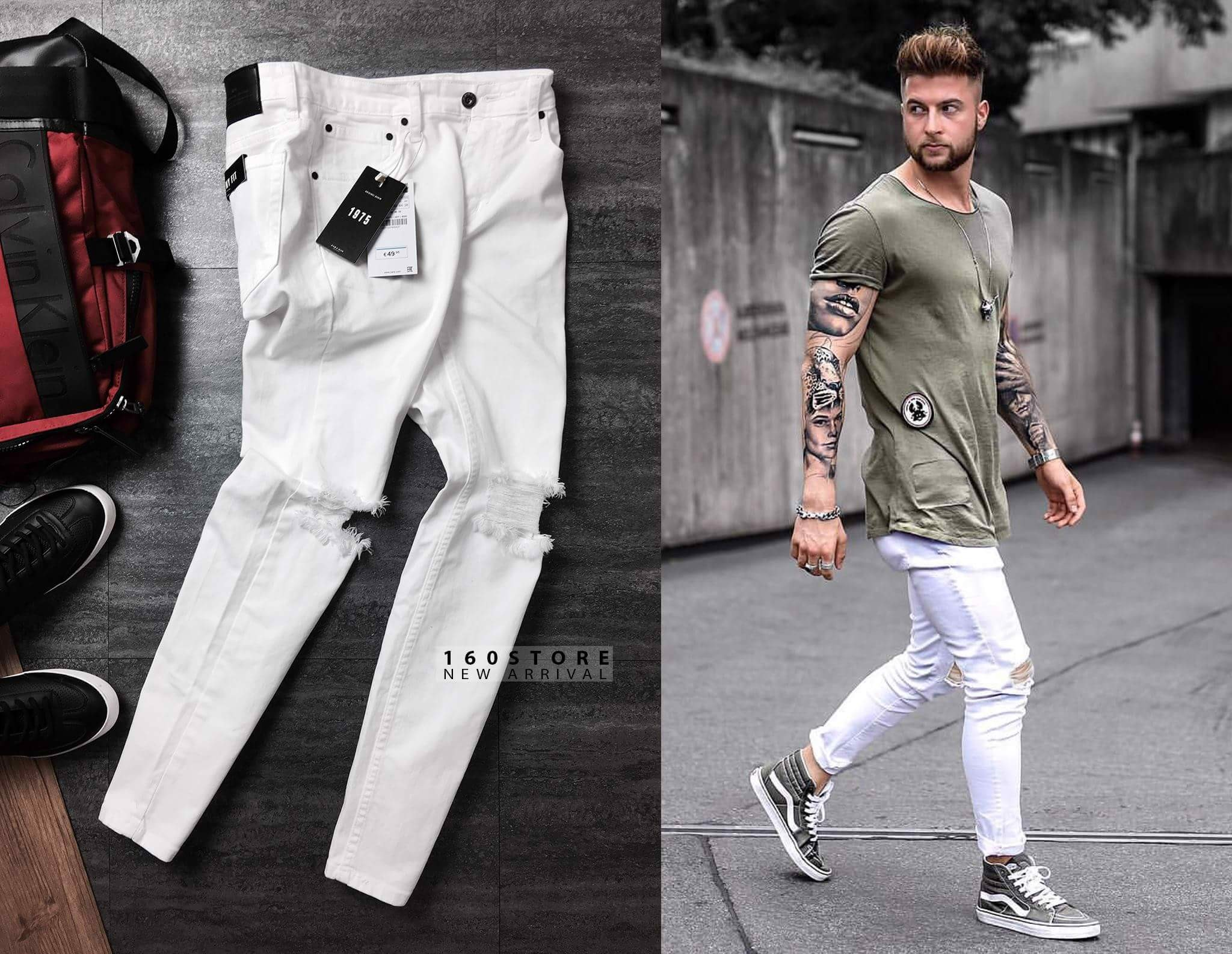ZRA Slim Fit Jeans With Rips In White