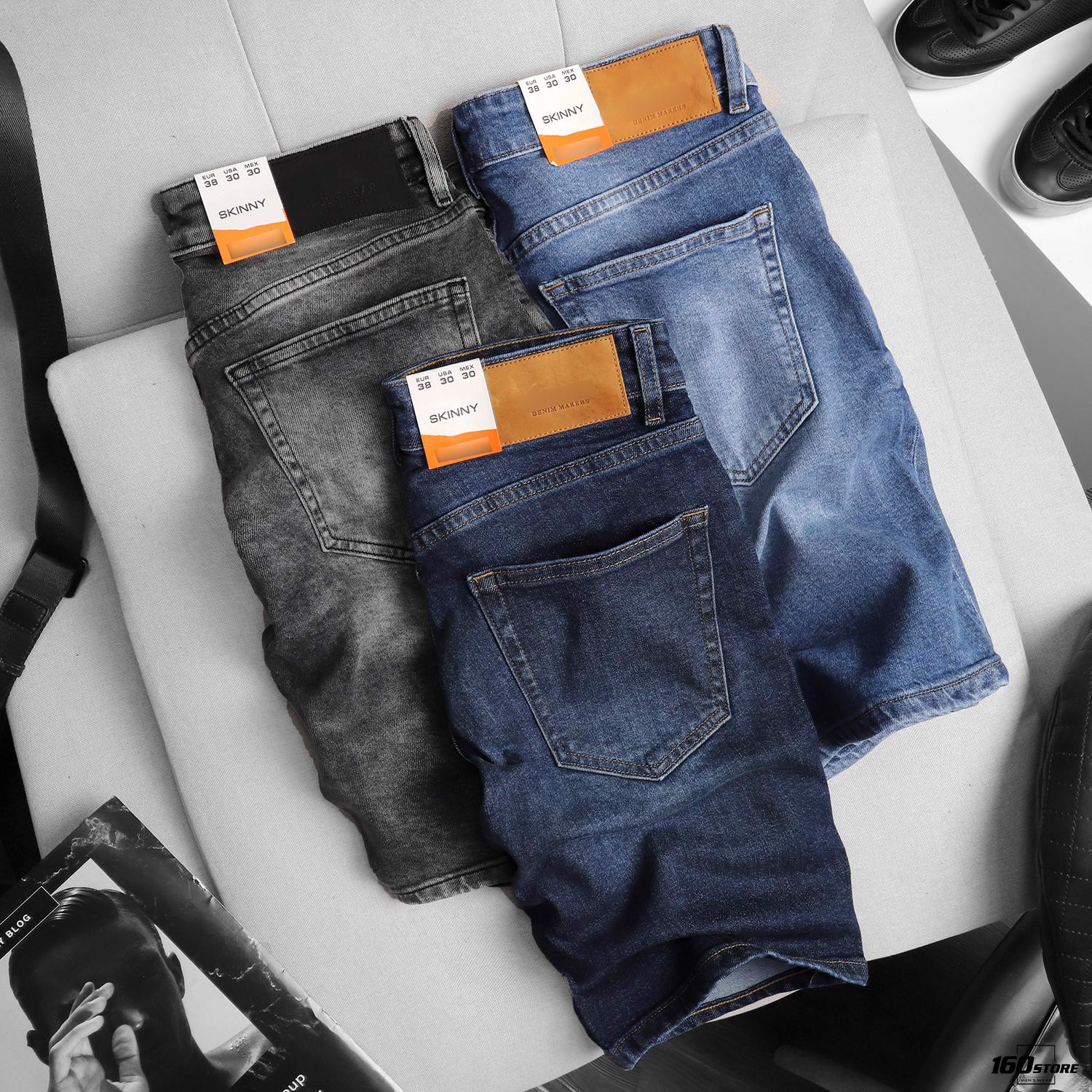 Quần short jeans P.B Gray wash