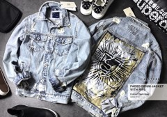 ZRA Faded Denim Jackets with Ripped