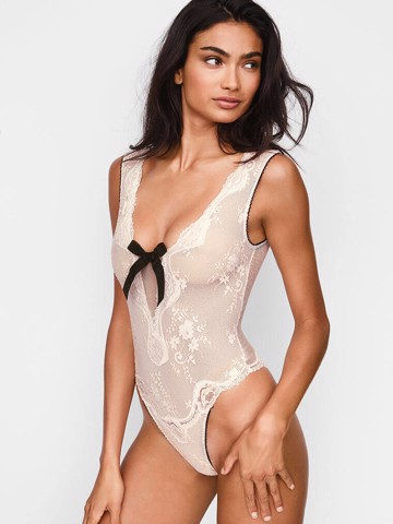Dream Angels Lace & Dot Mesh Teddy