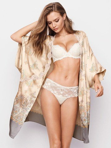 Dream Angels Lace-trim Satin Kimono