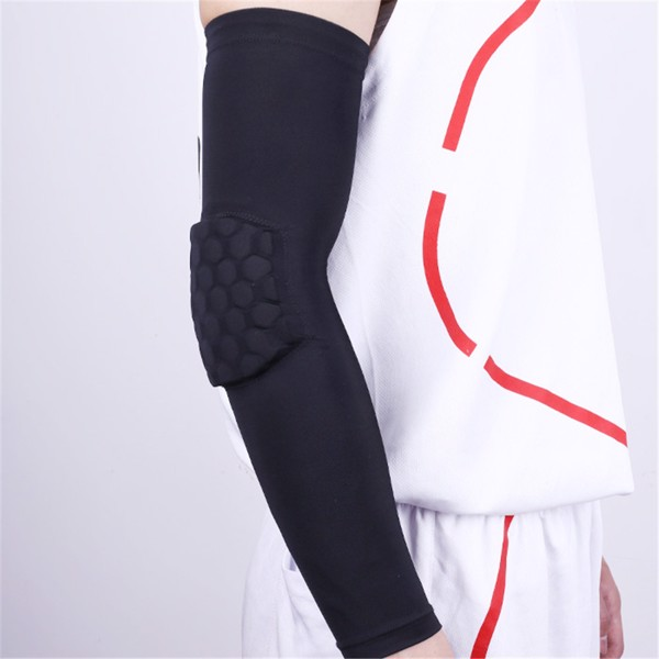Honeycomb Crash Pads Protector Basketball Black Shooting Arm Elbow Support (Băng Tay bóng rổ có đệm)