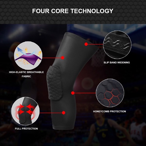 Honeycomb Crash Pads Protector Basketball Black Leg Knee Long Sleeve Support (Băng Gối bóng rổ có đệm)