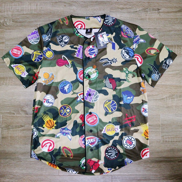 Association NBA Team Camo Mesh Baseball Jersey by UNK NBA (Real/New)