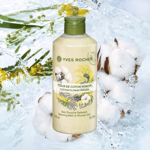 GEL TẮM YVES ROCHER COTTON FLOWER MIMOSA RELAXING BATH AND SHOWER GEL 200ML