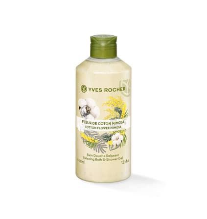 GEL TẮM YVES ROCHER COTTON FLOWER MIMOSA RELAXING BATH AND SHOWER GEL 400ML