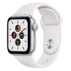 Apple Watch SE GPS 44mm MYDQ2VN/A Silver Aluminium Case with White Sport Band