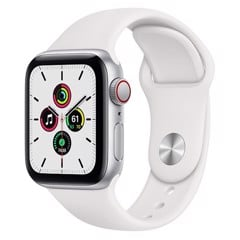 Apple Watch SE GPS + Cellular 44mm MYEV2VN/A Silver Aluminium Case with White Sport Band
