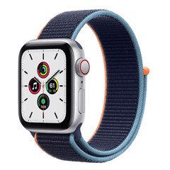 Apple Watch SE GPS + Cellular 44mm MYEW2VN/A Silver Aluminium Case with Deep Navy Sport Loop
