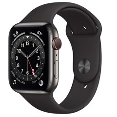 Apple Watch Series 6 GPS + Cellular 44mm M09H3VN/A Graphite Stainless Steel Case with Black Sport Band