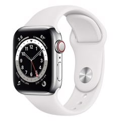 Apple Watch Series 6 GPS + Cellular 44mm MG2C3VN/A Silver Aluminium Case with White Sport Band