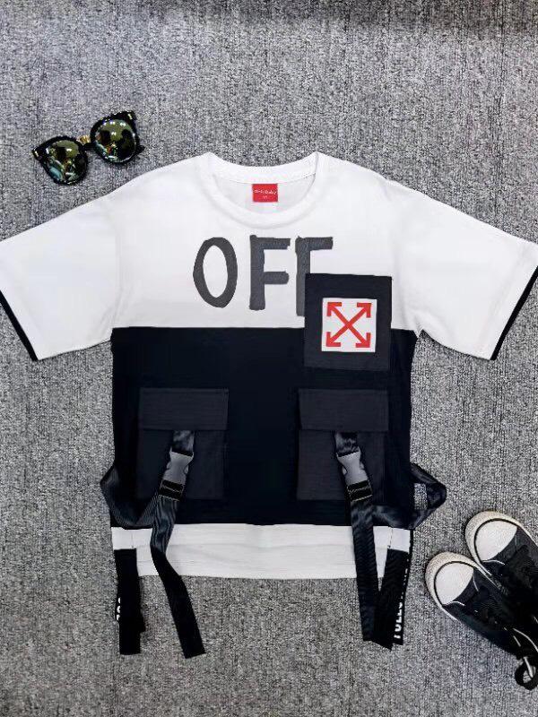 Áo thun ngắn tay bé trai 3 túi OFF vạt dây dù 5108