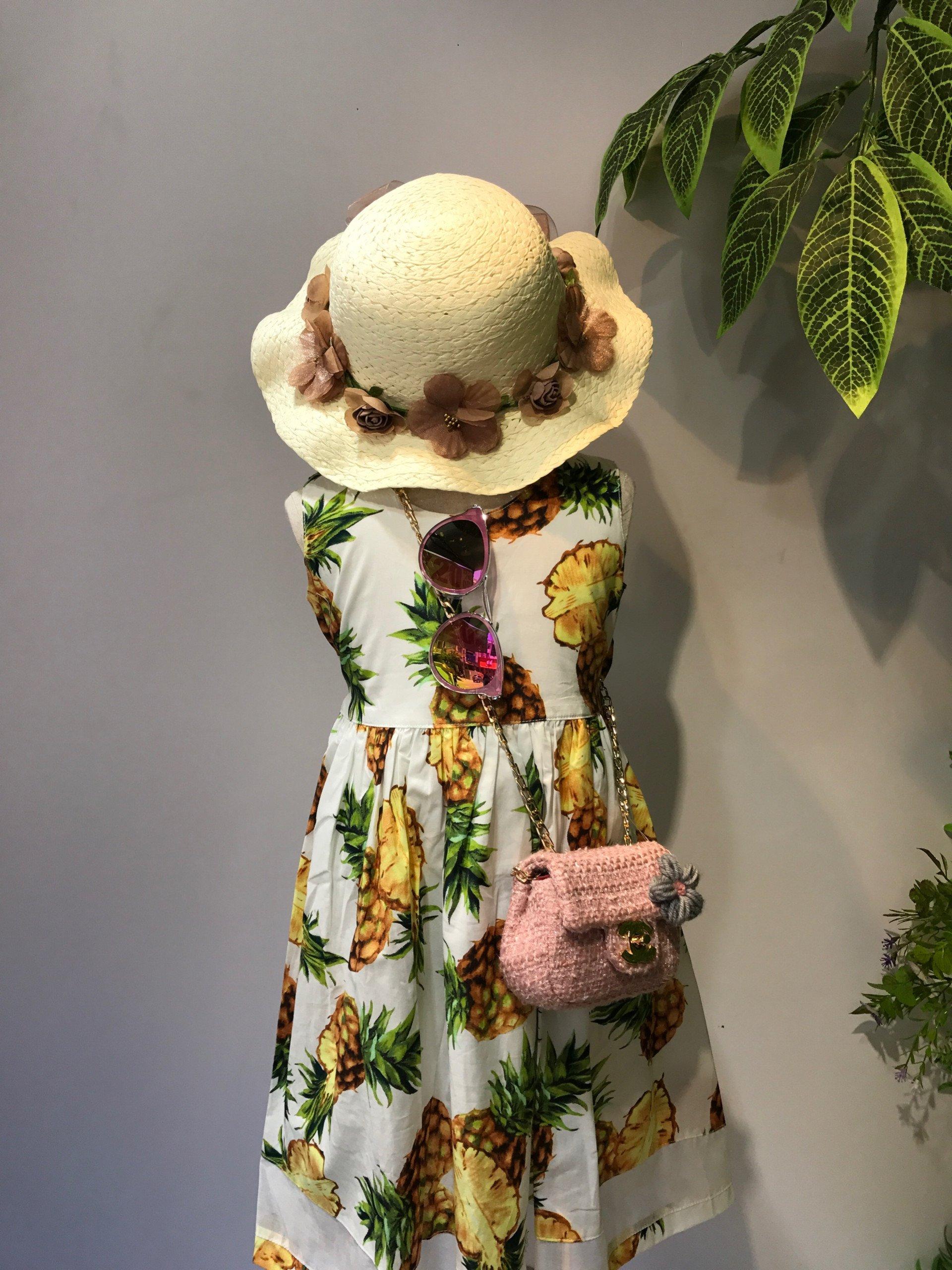 Mũ cói lượn đai hoa