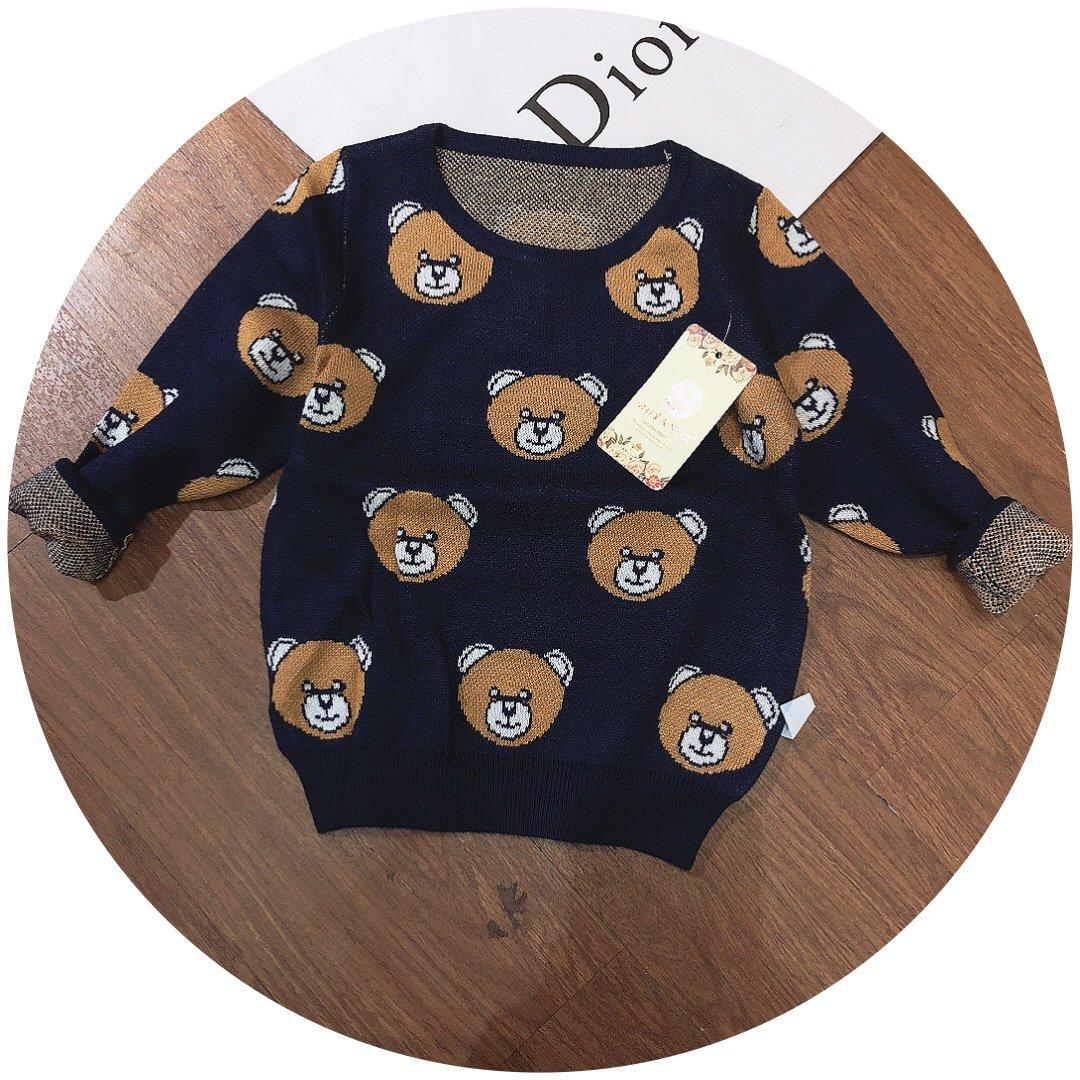 Áo len dài tay trẻ em đại mặt gấu 820