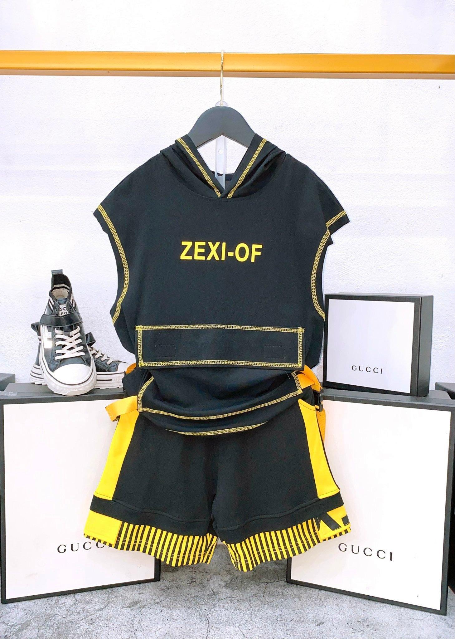 Set bộ ngắn trẻ em có mũ Zexi-Of hông 2 dây dù có khóa