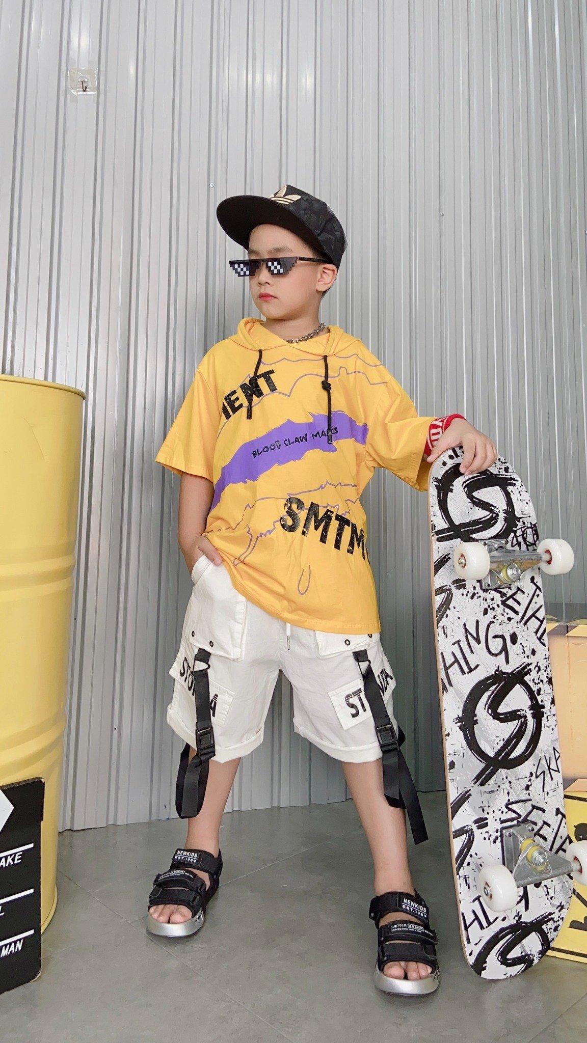 Áo thun ngắn tay trẻ em có mũ 7833