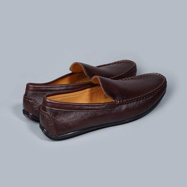Giày lười nam da trơn khâu đế - Nâu đất