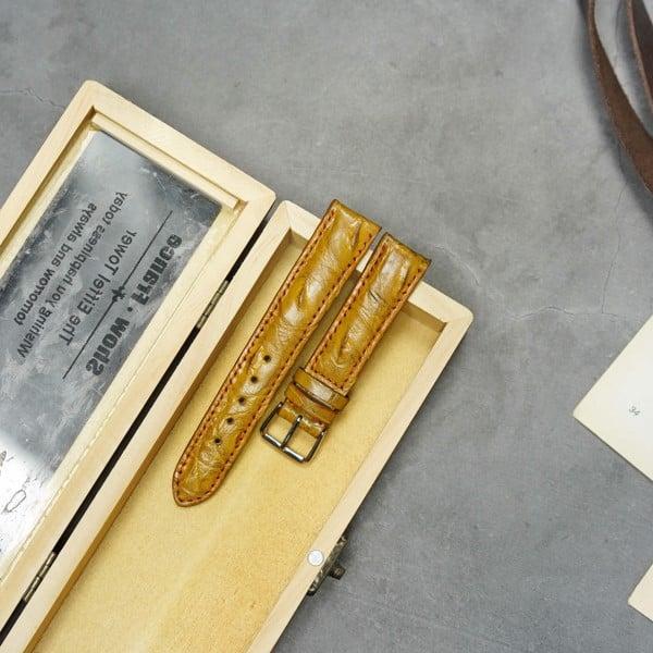 Dây đồng hồ size 16 da thật - Nâu vàng